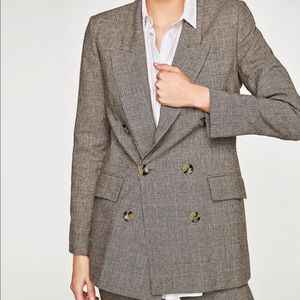 Zara Checked Double Breasted Jacket 7859/630/700/l